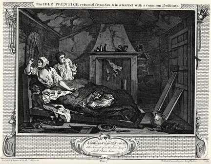 William Hogarth, Industry and Idleness Plate 7, 'The Idle 'Prentic return'd from Sea, & in a Garret with a common prostitute' (1747)