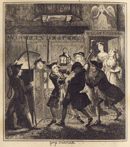 'Jack Sheppard tricking Shotbolt the Gaoler' (as his two lovers look on) by George Cruikshank, from Jack Sheppard by W.H. Ainsworth (1839)
