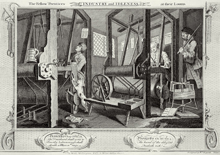 William Hogarth, 'Industry and Idleness' Plate 1, 'The Fellow 'Prentices at their Looms' (1747)