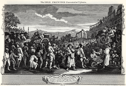 William Hogarth, 'Industry and Idleness' PLATE 11 'The Idle 'Prentice Executed at Tyburn' (1747)