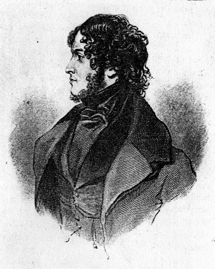 Engraving of Ainsworth (aged 34) from the First Edition of Jack Sheppard, taken from an original portrait by R.J. Lane (1839),