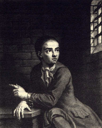 Eighteenth Century Reproduction of the Lost Portrait of Jack Sheppard in the condemned hold at Newgate by Sir James Thawnhill
