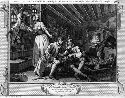 William Hogarth, Industry and Idleness Plate 9 'The Idle 'Prenice betray'd by his Whore, & taken in a Night Cellar with his Accomplice' (1747)